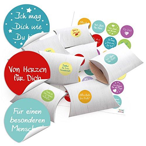 24 kleine Geschenkschachteln Geschenk-Boxen Kartons Holz Optik weiß 14,5 x 10,5 cm + 3 cm hoch +...