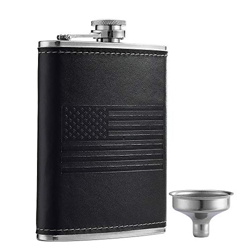 YWQ Stainless Steel American Flag Flask, Soft Touch Cover Liquor Flasks 8oz   Leak Proof Black PU Leather Heavy Duty Hip Set, Includes Funnel