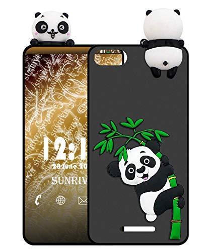 Sunrive Funda para XIAOMI MI 4C, Silicona Mate Funda Slim Fit Gel 3D Carcasa Case Bumper de Impactos y Anti-Arañazos Espalda Cover(W1 Panda 2) + 1 x Lápiz óptico