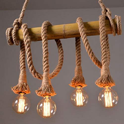 Easy Game- [4-Lights] Industrial Bamboo und Hanf Romp Rustikale Pendelleuchte für Küche Wohnzimmer LOFT Dorce.Hanging Lighting Fixture