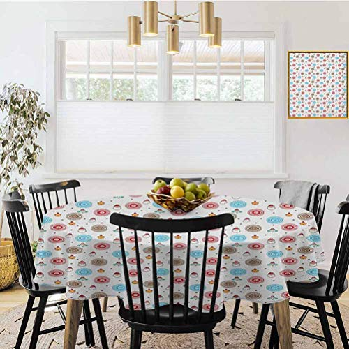 Ronde tafelkleed, Kinderen Cartoon Tekening met Huis Bunny en Bloemenelementen Zacht Gekleurd Patroon Multi kleuren, Tafel Cover Keuken Restaurant Party Decoratie
