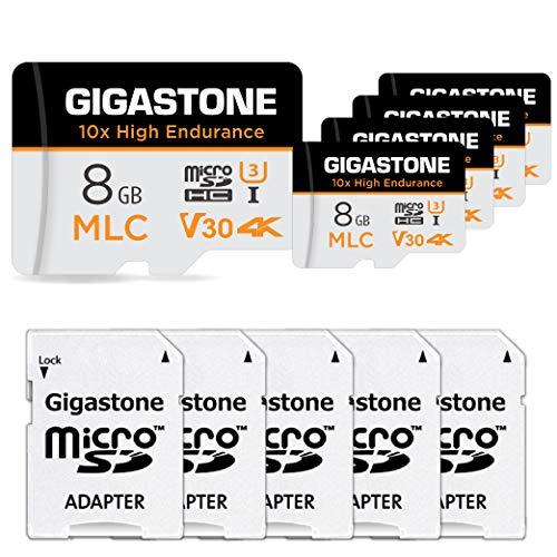 Gigastone MLC Scheda di Memoria 8 GB 5 Pezzi, 10x High Endurance, Compatibile con Telecamera di sicurezza, Videocamera, Gopro, Velocità di lettura fino a 90 MB/s. Ideale per video 4K, U3 V30 C10