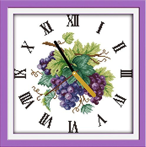 Kit de punto de cruz YEESAM ART Advanced – Reloj de pared de uva morada, 14 unidades, 33 x 33 cm, lona blanca, costura, regalos de Navidad