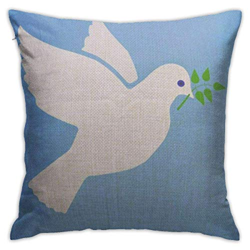 Yuanmeiju Throw Pillow Covers Throw Pillow Cases Biblical Dove of Peace Flying with Green Twig Olive On Blue White Flat Animals