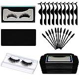170pcs False Eyelash Kit Include 20 Eyelash Packaging Box Eyelash Storage Case, 20 False Eyelash Tray, 30 Eyelash Extension Tweezers Applicator Tool, 100 Eyelash Brush Mascara Wands Applicator(Black)
