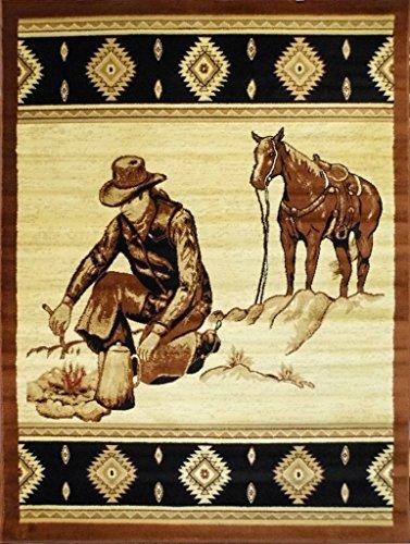 Lodge Cowboy Area Rug Design 371 (3 Feet 10 Inch X 5 Feet 1 Inch)
