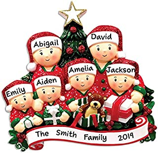 Hobby Home Accessories Personalized Opening Present Family of 4 Pajamas Christmas Tree Ornament Free Personalized (Family of 6)