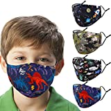 Woplagyreat Washable Reusable Kids Face Mask, Dinosaur Camouflage Camo Dino Cute Designer Breathable Madks Facemask for Boy Children Toddler Gift, Fabric Covering Adjustable Ear Loops