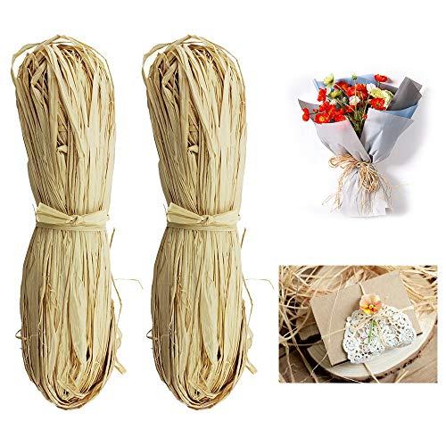 artisanat bouquets de fleuristes tissage Lot de 6 paquets de 50 g de raphia naturel pour bouquets de fleuristes utilisation de jardin 300 g d/écoration