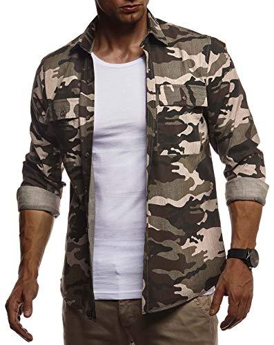 Leif Nelson Herren Hemd Freizeithemd T-Shirt Langarm 100% Baumwolle Männer Langarmshirt Oversize Jeanshemd Jungen Basic Shirt Kurzarmshirt Camouflage Sommerhemd LN3850 Khaki Medium