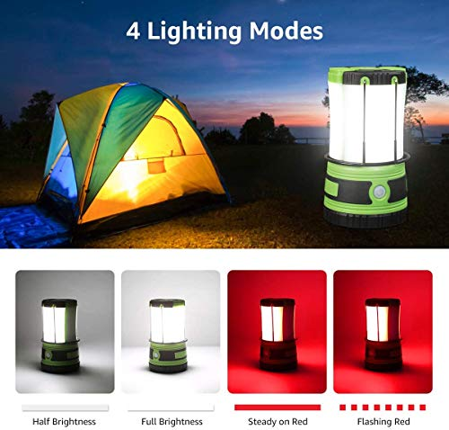 Lepro Camping Lantern with 2 Detachable Torch, USB Rechargeable and Battery Operated, 1000 Lumen 4 Lighting Modes…