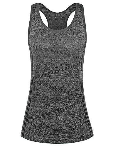 Fitness Training Tanktop, Damen Sport Tops, Yoga Sport Tank Top Damen Racerback Lauftop Fitness Running Shirt Oberteile(Deep Grey, S)