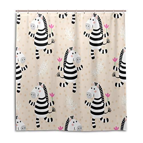 BIGJOKE Duschvorhang, niedliches Zebra-Blumen-Design, schimmelresistent, wasserdicht, Polyester, 12 Haken, 167,6 x 182,9 cm, Heimdekoration