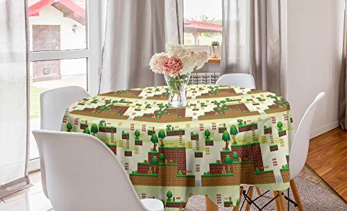 ABAKUHAUS zuilengang Rond Tafelkleed, Vintage Video Game Platform, Decoratie voor Eetkamer Keuken, 150 cm, Pale Green Brown