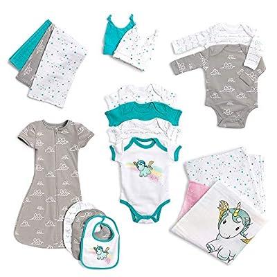 JumpOff Jo Layette Gift Set 17-Piece Newborn Baby Clothes, 0-3 Months - Unicorn Turquoise