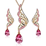 Menton Ezil Butterfly Wings Necklace and Earrings Set for Women 18K Gold Plated Jewelry Set Crystal from Swarovski Jewelry Gift for Women