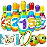 Flyfun Juego de Bolos Infantil con 10 Alfileres 2 Bolas y 3 Anillas, Juegos Exterior para Niños, Bolos Infantiles Juguete, Juego Educativo Desarrollo Intelectual