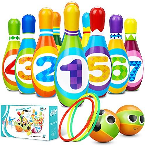 Flyfun Juego de Bolos Infantil con 10 Alfileres 2 Bolas y 3 Anillas, Bolos Infantiles Juguete, Juegos Exteriores para Niños, Juego Educativo Desarrollo Intelectual