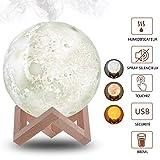 Humidificateur Moon Light avec fonction d'humidificateur Cool Mist, 880ml 3 couleurs Lampe Lune Air Humidifier Diffuser, pour le bureau à domicile séchant en automne et en hiver