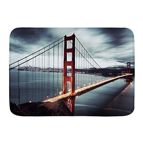XINGAKA Alfombra de Baño Antideslizante Alfombrilla de Baño,Puente Golden Gate en San Francisco, California, EE.UU.,Absorbente Tapete del Piso de Microfibra de Lavable a Máquina Suave para Salida