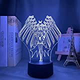 YZZR 3D Anime Models Statues Lamp,Fairy Tail Erza Scarlet Figure Action LED Illusion Night Light Characters Dolls Decorations Souvenirs for Kids Anime Fans Gifts