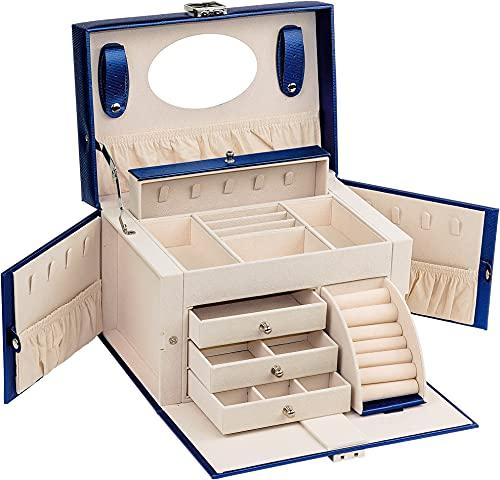 ADEL DREAM Joyero grande con cerradura de 4 niveles con 3 cajones con espejo, para anillos, pendientes, collares y pulseras, elegante y clásico (azul)