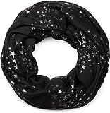 styleBREAKER fular de tubo con estampado de motivo «all over» de estrellas metálicas brillantes, chal, pañuelo,...