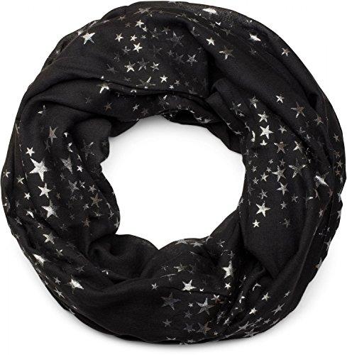 styleBREAKER Loop Schal mit glitzerndem Metallic Sterne All Over Print Muster, Schlauchschal, Tuch, Damen 01016118, Farbe:Schwarz