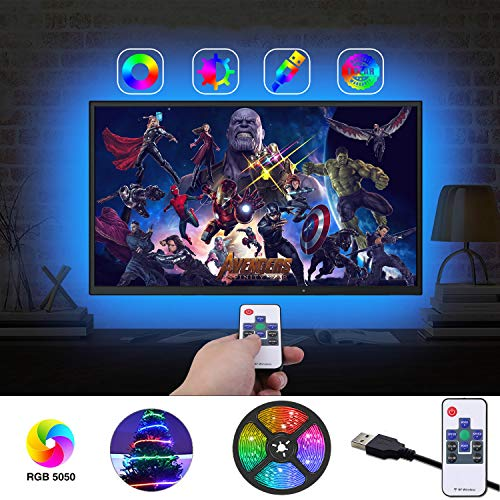 LED Strip Lights, AILBTON TV LED Backlight RGB Strip USB Powered RGB Color Light Strip Kit for 60-75 Inch TV Bias Lighting Variable 18 Colors and 20 Dynamics with 2 RF Remote Controller - 13.2 FT