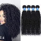 Tissage Bresilien en lot de 4 Boucles Bresiliens Virgin Hair 50g/pc(Non 100g) Deep Curly 12 pouces(30.4cm) Court Cheveux Boucles...
