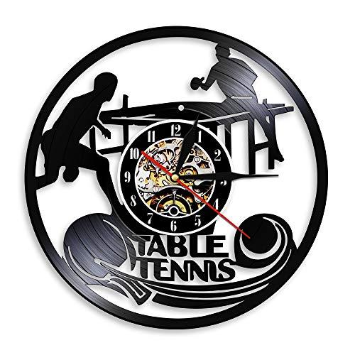 Eld 30cm Jugando Tenis de Mesa Silueta Reloj de Disco de Vinilo Arte Creativo Decoración de Pared Hacer Grabar Deporte Tema Relojes Slient Música Arte Grabar Relojes de Pared