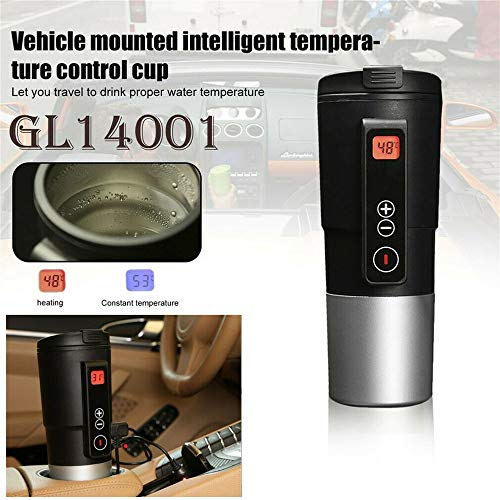 Smart Temperature Control Travel Coffee Mug EAST MOUNT Electric heated Travel Mug 12V Stainless Steel Tumbler Smart Heating Car Cup Keep Milk Warm LCD display Easily Washing Safe for use (Black)…