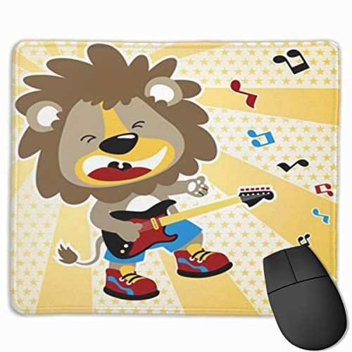 Sdwosibao Cute Gaming Mouse Pad,Desk Mousepad,Small Mouse Pads for Laptop Computers,Mouse Mat Rock Lion The Best Guitar Player Rocker Cartoon Star