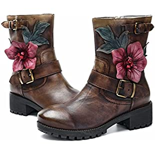 Customer reviews Socofy Leather Ankle Bootie, Women's Winter Shoes Warm Boots Vintage Handmade Garden Flower Zipper Flat Comfort Boots Fur Lining High Top Snow Boots Ladies Walking Fashion Mid Heel Shoes Coffee 6.5 UK:Dailyvideo