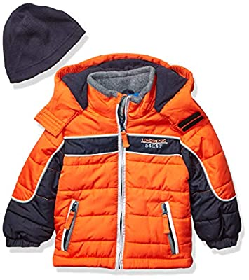 London Fog Boys' Toddler Color Blocked Puffer Jacket Coat with Hat,Orange black Hat,4T