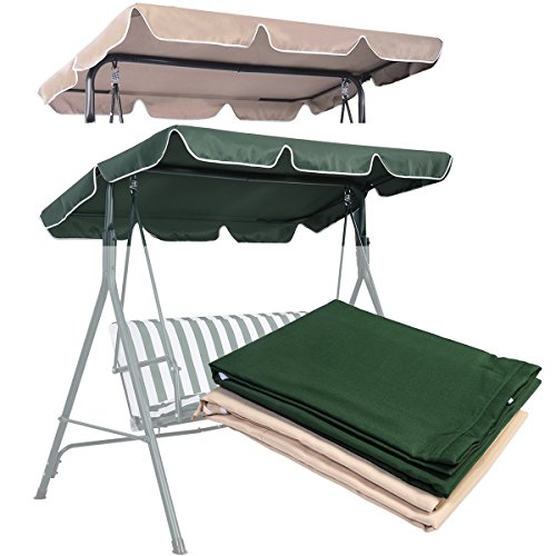 COSTWAY Replacement Canopy for Swing Seat 2 & 3 Seater Sizes Hammock Cover Top Garden Outdoor (114 x 168cm, Green)