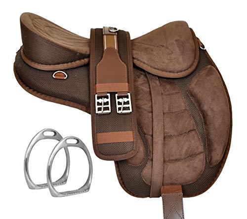 Y&Z Enterprises Montura de caballo inglés sin árboles, sin árboles, sin tachuelas y correa a juego (asiento de 45,7 cm, marrón)