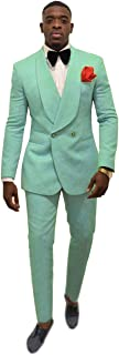 Double-Breasted Mens Patterned Suit Groom Tuxedos for Wedding Suit Shawl Lapel Two Piece(Blazer+ Pants)