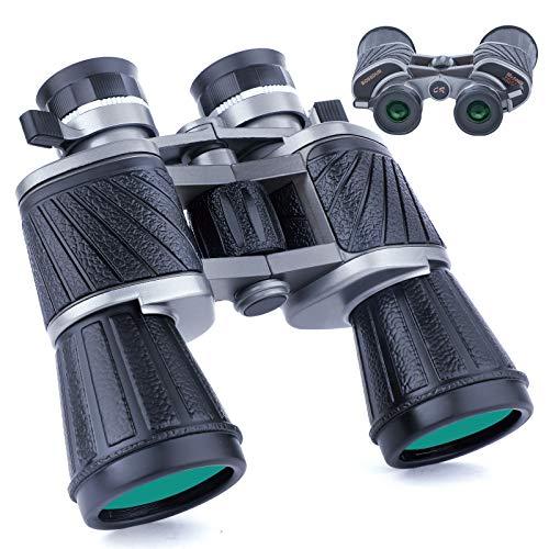 Prismáticos Potentes de 10 x 50 para Adultos,con Visión Nocturna con Poca luz, Ocular Grande, Binoculares Compactos de Gran Angular a Prueba de Agua para Adultos, Observación de Aves, Caza, Conciertos