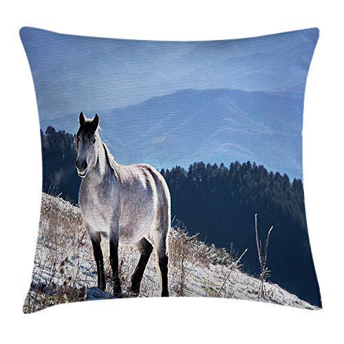 HorsesThrowPillowCojín,CaballoenlasmontañasnevadasCuerponobleAnimalessalvajeseneldesiertodelanaturalezahumana,Fundadealmohadadecorativacuadradadecorativa,Blanco,Verde,Azul