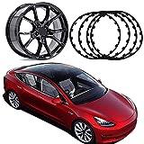 Protezioni per Cerchioni per Auto, per Tesla Model 3, Protezioni per Cerchi in Lega/Protezione per Pneumatici, Anello per Bordi Ruota da 16-20 Pollici, (Set di 4) Universali,Black-16inch