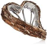 com-four Macetero en Forma de corazón, Canasta de Mimbre Decorativa, Canasta de Plantas con Papel de Aluminio en el Interior, Ideal para Plantar o como Maceta Decorativa (1 Pieza 30x40cm marrón)