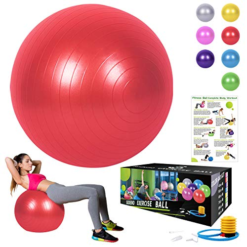 Sodeno Yoga Ball 65cm, Exercise Ball Fitness, Pilates, Birthing, Therapy, Office Ball Chair, Classroom Flexible Seating (Red, 65cm) by Sodeno