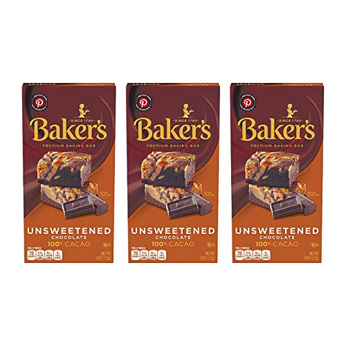Baker's Unsweetened Baking Chocolate Bar, 4 Oz (Pack of 3) KOSHER OKd