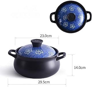 HAOT Cazuela de Dibujos Animados, Sopa Cacerola de cerámica Olla de Barro de Alta Temperatura con Tapa de patrón Adorable Utensilios de Cocina Japonesa para Sopa de arroz con gachas de Avena-f 4.