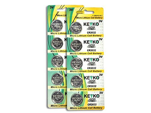 2032 Battery - 10 pcs Pack - 3V Lithium Buttom Coin Cell Battery Type 3.0 Volt: CR2032 DL2032 ECR2032 Genuine KEYKO Supreme High Energy