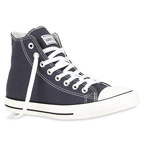 stiefelparadies Herren Schuhe Sneakers High Top Schnürer Kult Sportschuhe Freizeit Schuhe 54411 Dunkelgrau Ambler 37 Flandell