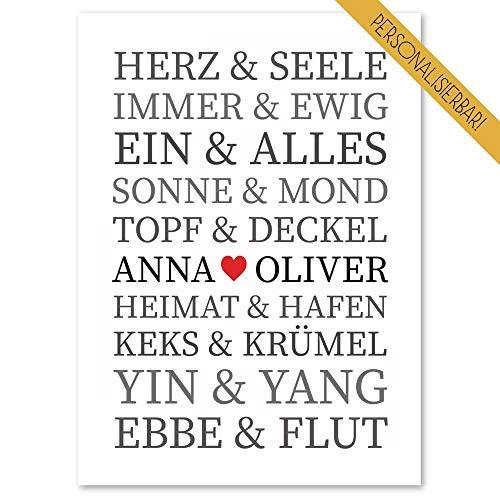 WEDDNG Hochzeitsposter Herz&Seele, Personalisiertes Geschenk zu Hochzeit, Valentinstag, Geburtstag, Jahrestag, Weihnachten Hochzeitsgeschenk Brautpaar, DINA4