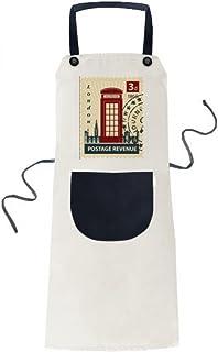 beatChong Cabina De Teléfono De Londres País Sello De Ciudad Del Reino Unido Que Cocina Color Beige Babero Ajustable Regalo Mujeres Bolsillo Del Delantal Del Cocinero Hombres
