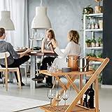 Relaxdays Küchenwagen Bambus, Servierwagen klappbar mit Flaschenhalter, Rollwagen Holz, HxBxT: 70 x 40,5 x 65 cm, natur - 7